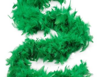 60 Gram Chandelle Feather Boa, Kelly Green 2 Yards For Party Favors, Kids Craft & Dress Up, Dancing, Wedding, Halloween, Costume ZUCKER®