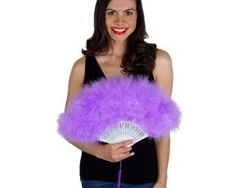 Lavender Feather Fan, Small Marabou Feather Fan, Cheap Feather Fan For Photobooths, Costume Parties, Carnival & Halloween ZUCKER®