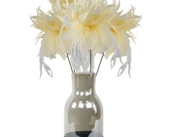 Light Yellow Feather Flowers & Vase Set, Smoke Gray with Black Personalized LOVE Chalkboard Bottom, Feather Centerpiece w/ Glass Jug ZUCKER®