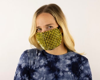 Fitted Face Mask, Gold Studded Reusable Face Mask, Washable, Halloween Sequin Mask, Fashion Face Mask, Face Covering ZUCKER®