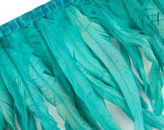 "10-12"" SEAFOAM Dyed Coque Feather Fringe 1YD - DIY Art Crafts, Carnival, Cosplay, Costume, Millinery & Fashion Design Feather Fringe ZUCKER®"