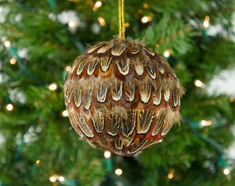 "Decorative Feather Ornament - 4"" Natural Pheasant Ball - Christmas, Decor, Unique Holiday Decorative feather ornament ZUCKER®"
