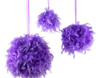 "Large LAVENDER Decorative Chandelle Feather Pom Poms 18"" - Unique Event Decor For Birthday Parties, Bridal and Baby Showers  ZUCKER®"