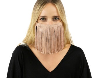 Fitted Fringe Mask, Champagne Blush Fringe Reusable Face Mask, Washable, Halloween Fringe Mask, Fashion Face Mask, Face Covering ZUCKER®