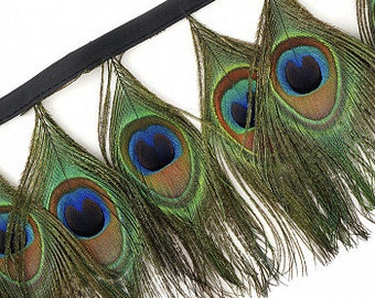 """1 Yard Natural Iridescent Peacock Feather Fringe 4.5-5""""- For DIY Art Crafts, Carnival, Cosplay, Costume, Millinery & Fashion Design ZUCKER®"""