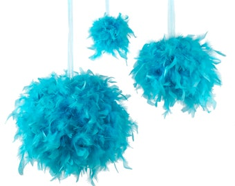 "Large LIGHT TURQUOISE Decorative Chandelle Feather Pom Poms 18"" - Unique Event Decor For Birthday Parties, Bridal and Baby Showers  ZUCKER®"