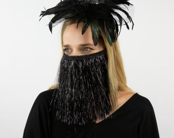 Black Feather Fascinator with Rhinestone Spider Accent and Shiny Fringe Mask- COVID Halloween  ZUCKER® Feather Place Originals