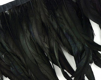 "10-12"" Black Iridescent Rooster Coque Tail Feather Fringe 1YD For DIY Crafts, Carnival Costume, Cosplay, Millinery & Fashion Design ZUCKER®"