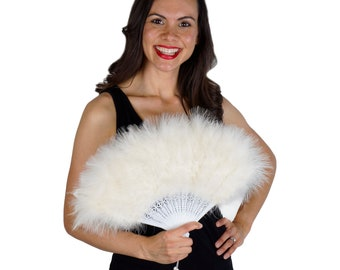 IVORY Marabou Feather Fans - Photobooth Accessories, Perfect for Great Gatsby, Roaring 20's Theme Costume Parties & Halloween Events ZUCKER®