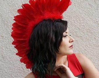 Red Feather Mohawk Headdress - Festival, Burning Man, Coachella, Halloween, Carnival, Rave Wear ZUCKER® Feather Place Original Designs