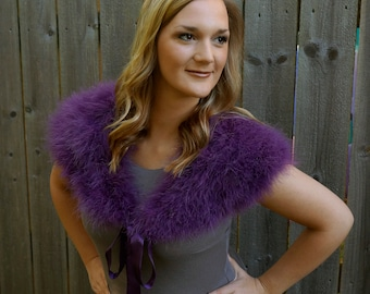 PURPLE Marabou Feather Shawl with Satin Ties - For Prom, Bridesmaids, Weddings & all Special Events ZUCKER® Feather Place Original Designs