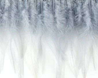 "1 Yard SILVER Dyed Saddle Feather Fringe approx 5-6"" - Fringe for Costume, Fashion & Millinery Design  ZUCKER®"