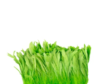 "LIME 8-10"" Bulk Bleach-Dyed Rooster Coque Tail Feathers Strung by the 1/4lb For Cultural Arts, Carnival & Costume Design ZUCKER®"