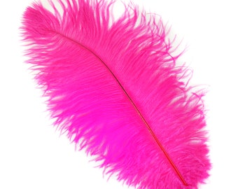 """SHOCKING PINK Bulk 13-16"""" Ostrich Feathers 1/4LB For Feather Centerpieces,Party Decor,Millinery,Carnival,Fashion and Costume Design ZUCKER®"""