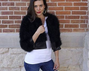 Marabou Feather Jacket with Faux Leather Detail Med-Large ZUCKER® Feather Place Original Designs