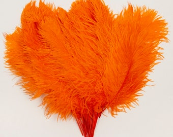 """Orange Ostrich Feather Tips, 15-18"""" Ostrich Tails 25 Pieces for Millinery & Floral Design, DIY Costume, Carnival, Mardi Gras ZUCKER®"""