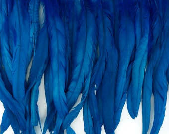 "12-14"" DKTURQUOISE Dyed Coque Feather Fringe 1YD - For DIY Art Crafts, Carnival Costume, Cosplay, Millinery & Fashion Design Fringe ZUCKER®"