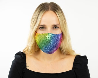 Fitted Rainbow Sequin Mask, Metallic Rainbow Reusable Face Mask, Washable, Halloween Covid Mask, Face Mask, Face Covering ZUCKER®