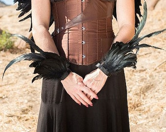 BLACK Feather Flair Cuffs - Costume Feather Wrist Cuffs, Ankle Cuffs, Arm Cuffs for Halloween, Carnival, Festival Wear & Burning Man ZUCKER®