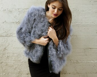 DARK GREY Marabou Feather Jacket Medium/Large - For Fashion Trends and Special Events ZUCKER® Original Designs