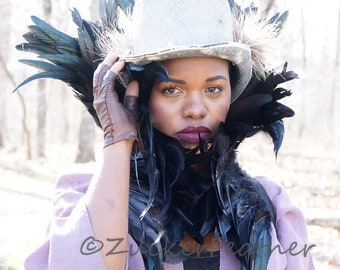 Ravenna Inspired Empress High Feather Collar -  ZUCKER® Feather Place Original Designs  - Premium Fantasy Feather Costume & Cosplay Collar