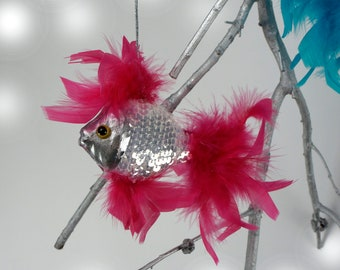 Under the Sea Feather Fish Ornament - Decorative Pink & Silver Fish Ornament - Unique Party Favor and Holiday Decor ZUCKER®