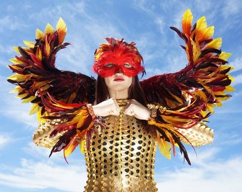 Rising Phoenix Costume Wings, Cuffs and Mask, Fire Bird Costume 3 in 1 Set, Unique Premium Fantasy Feather Costume & Cosplay Wings ZUCKER®