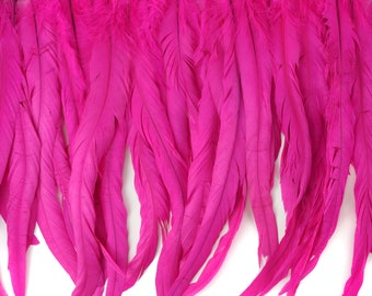 "12-14"" SHOCKINGPINK Dyed Coque Feather Fringe 1YD - For DIY Art Crafts, Carnival Costume, Cosplay, Millinery & Fashion Design Fringe ZUCKER®"