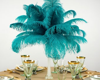 "Ostrich Feathers 13-16"" DARK AQUA - For Feather Centerpieces, Party Decor, Millinery, Carnival, Fashion & Costume ZUCKER®"