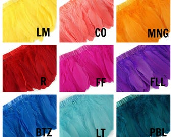 1 Yard Parried Goose Pallet Feather Fringe - FPP6 - Carnival Costume Fringe ZUCKER™