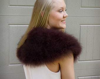BROWN Marabou Feather Shawl with Satin Ties - For Prom, Bridesmaids, Weddings and all Special Events ZUCKER® Feather Place Original Designs