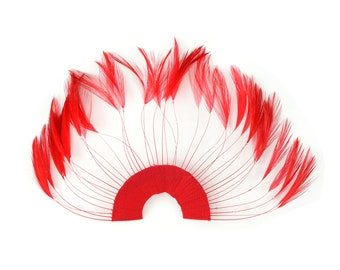 RED Hackle Feather Trim - Hackle Plate Feather Trim with Beads for DIY Arts and Crafts, Millinery & Costume Design ZUCKER®