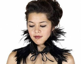 Evil Queen Black Feather Choker - Ravenna Inspired Costume Feather Choker ZUCKER® Feather Place Original Designs