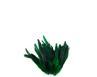 """GREEN Dyed Rooster Feathers, 8-10"""" Barred Rooster Feathers,25pcs Rooster Coque Tails For Arts & Crafts,DIY, Millinery,Costume Design ZUCKER®"""