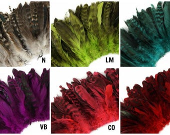 Natural and Dyed Chinchilla Coque Tail Feathers - Strung 1 Yard CCCS3-6YD ZUCKER®