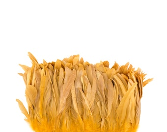 "GOLD 8-10"" Bulk Bleach-Dyed Rooster Coque Tail Feathers Strung by the 1/4lb For Cultural Arts, Carnival & Costume Design ZUCKER®"