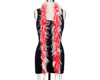 1 Ply Ostrich Feather Boa Economy RED & WHITE 2 Yards -Fashion, Accessory, Halloween, Costume Design, Dress Up, Dancing, Stage  ZUCKER®