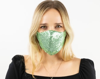 Fitted Face Mask, Green Sequin Reusable Face Mask, Washable, Halloween Sequin Mask, Fashion Face Mask, Face Covering ZUCKER®