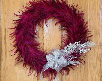 Festive Decorative Holiday Feather Wreath - Unique Holiday & Christmas Decor -Large Hackle Feather Wreath Shocking Pink ZUCKER®