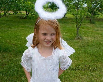 White Angel Feather Wings & Halo Costume Set, Small Child Size White Angel Wings Halo Set for Halloween, Christmas Pageant and Photo ZUCKER®