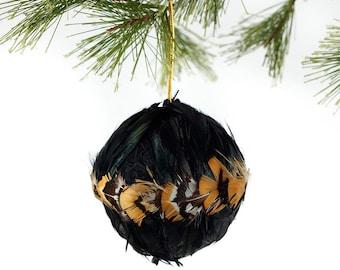 "Decorative Feather Ornament - 3"" Natural Pheasant Ball - Christmas Decor, Unique Holiday Decorative feather ornament ZUCKER®"