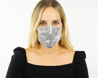 Fitted Silver Sequin Mask, Metallic Silver Reusable Face Mask, Washable, Halloween Covid Mask, Face Mask, Face Covering ZUCKER®
