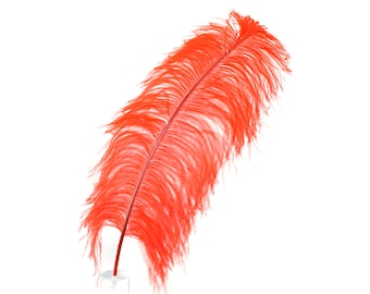 "Large Ostrich Feathers,1 Piece 17-25"" Prime Ostrich Femina Wing Plumes, RED, Hat Feathers, Floral Centerpiece,Carnival Feathers ZUCKER® USA"