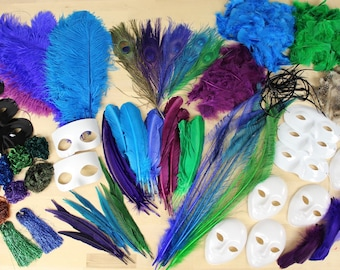 Large Feather Craft Kit with PEACOCK Jewel Tone Feathers for Adults and Kids Crafting Projects - Master Crafter Assortment Kit ZUCKER®