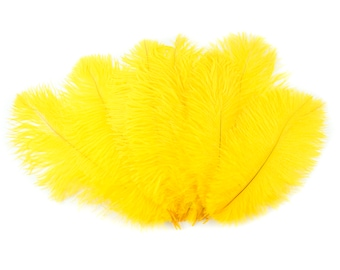 """Ostrich Feathers 9-12"""" YELLOW, Ostrich Drabs, Centerpiece Floral Supplies, Carnival & Costume Feathers ZUCKER®Dyed and Sanitized USA"""