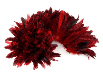 1YD BULK Strung RED Chinchilla Coque Tail Feathers 3-6 inches - For Fashion, Costume, Carnival & Cultural Arts Design ZUCKER®