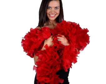 RED Turkey Feather Boa - Large Economy Feather Boa for Carnival, Halloween, Costume Party, Burlesque & Showgirl Costume ZUCKER®