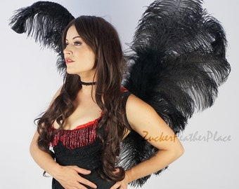 Black Angel Fairy Costume Ostrich Feather Wings - ZUCKER™ Feather Place Original Designs - Unique Premium Fantasy Costume & Cosplay Wings