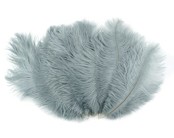 "Ostrich Feathers 9-12"" SILVER Grey, Ostrich Drabs, Centerpiece Floral Supplies, Carnival & Costume Feathers ZUCKER®Dyed and Sanitized USA"
