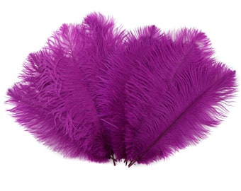 "Ostrich Feathers 9-12"" Fuschia BERRY, Ostrich Drabs, Centerpiece Floral Supplies, Carnival & Costume Feathers ZUCKER®Dyed and Sanitized USA"